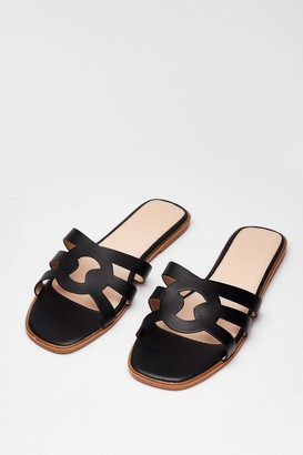 Nasty Gal Womens Make Moves Cut-Out Flat Sandals - Black