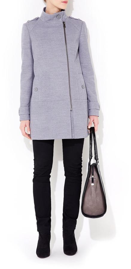 Wallis Grey Funnel Neck Coat