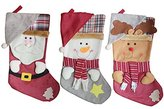 3 Pcs Classic Christmas Stockings 18 inch Santa's Toys Cute Stockings Plush 3D Applique Style Felt Christmas Stockings for Kids and Family, Detailed Designs, Embroidered Edges, Hanging Loops