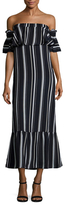 Lucca Couture Directional Striped Ruffle Midi Dress