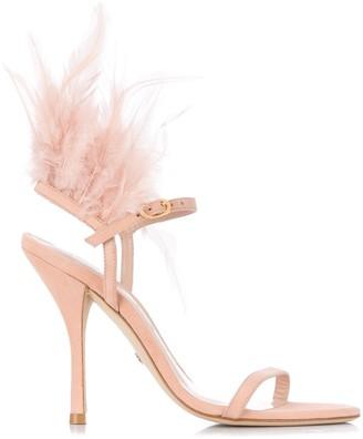Stuart Weitzman Ricki feather-detail sandals
