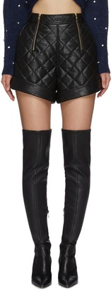 Self-Portrait Zip Detail Quilted Faux Leather Shorts