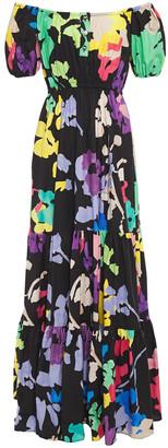 Caroline Constas Bardot Off-the-shoulder Printed Stretch-cotton Poplin Maxi Dress
