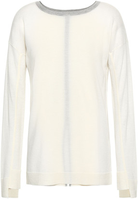 Duffy Split-back Open Knit-paneled Cashmere Sweater