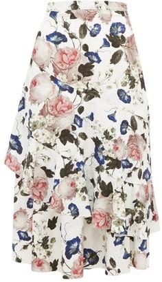 Erdem Zennia Rose-print Jacquard Flounced Midi Skirt - Womens - White Multi