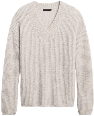 Banana Republic Merino-Blend Oversized V-Neck Sweater