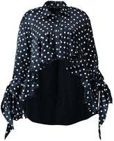 Each X Other CROPPED RUFFLED SHIRT Blouse dot print