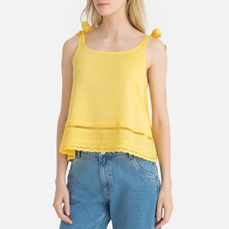 La Redoute Collections Embroidered Cotton Cami with Tie-Shoulders