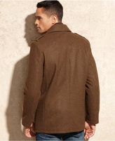 Kenneth Cole Reaction Coat, Knit Bib Wool-Blend Peacoat