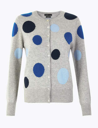 Marks and Spencer Pure Cashmere Polka Dot Cardigan