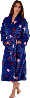 MAS_Q Womens Jacquard Stripe Shawl Collar Robe With Patch Pockets Self-Fabric Belt. Navy Star 8/10