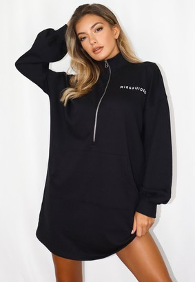 Missguided Black High Neck Oversized Sweater Dress