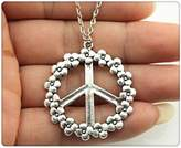 Nobrand No brand silver tone 38mm flower peace pendant necklace