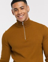 New Look muscle fit half zip neck jumper in camel