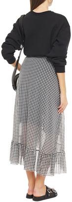 Ganni Ruffle-trimmed Gingham Stretch-mesh Midi Wrap Skirt