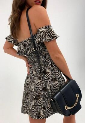 Missguided Stone Zebra Print Bardot Jersey Skater Dress