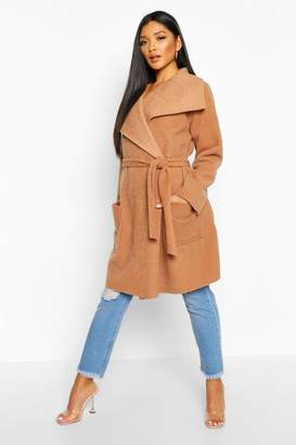 boohoo Brushed Wool Look Belted Coat