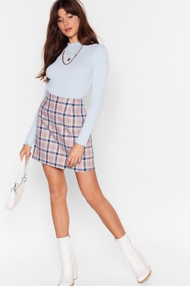 Nasty Gal Womens Let's Get the Cheque High-Waisted Mini Skirt - Beige - 6