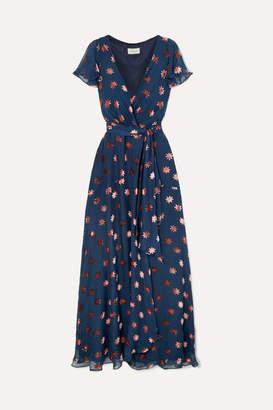 Temperley London Devore-chiffon Wrap Dress - Navy