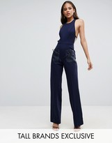 Taller Than Your Average TTYA Black Wide Leg Jumpsuit With Organza Bow Detail