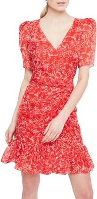 Parker Krislyn Printed Short-Sleeve Flounce Dress
