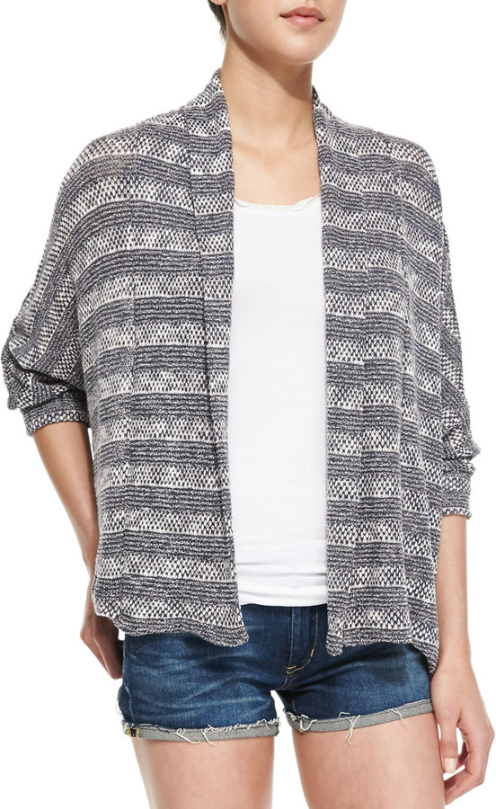 Ella Moss Sierra Striped Loose-Knit Cardigan, Graphite
