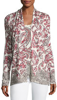 Neiman Marcus Superfine Floral Paisley Open Cardigan