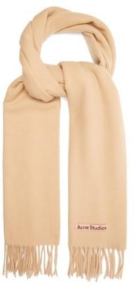 Acne Studios Canada Narrow New Fringed Wool Scarf - Camel