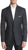 Tom Ford Windsor Base Textured Melange Blazer, Navy/Teal