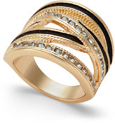 Thalia Sodi Gold-Tone Crystal Jet Faux-Leather Criss Cross Ring, Only at Macy's