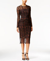 Rachel Roy Illusion Lace Floral-Print Midi Dress