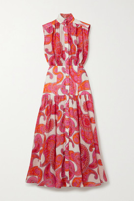 Zimmermann Peggy Paisley-print Ramie Midi Dress - Magenta
