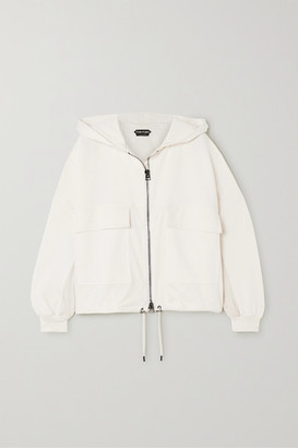 Tom Ford Hooded Paneled Jersey, Satin And Pique Track Jacket - White