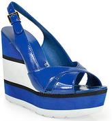 Kate Spade Damara - Cobalt Patent Leather Wedge Sandal