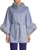 Wolfie Fur Dyed Fox Fur-Trim Wool & Cashmere Cape