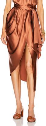 Johanna Ortiz Magical Feeling Midi Skirt in Dark Caramel   FWRD