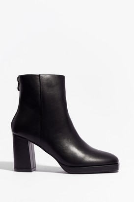 Nasty Gal Womens Faux Leather Say Faux Leather Heeled Ankle Boots - Black - 3