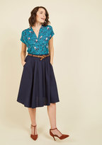 ModCloth Breathtaking Tiger Lilies Midi Skirt in Navy in XL