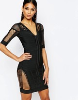 Wow Couture Bandage Body-Conscious Dress with Ladder Detail
