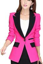 Aro Lora Women's Long Sleeve Color Block Lapel One Button Jacket Blazer Suit