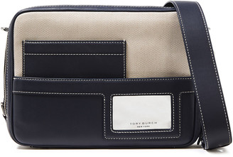 Tory Burch Paneled Canvas And Leather Shoulder Bag