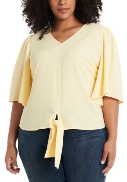 1 STATE Trendy Plus Size Flounce-Sleeve Tie-Front Top