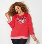 Avenue Sequin Heart French Terry Sweatshirt