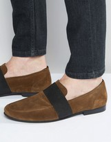 Asos Loafers in Khaki Suede With Elastic Strap