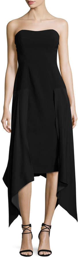 Cinq à Sept Strapless Handkerchief-Hem Midi Dress, Black