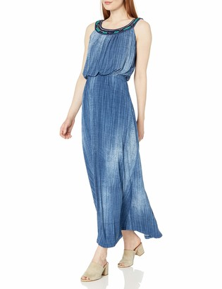 Robbie Bee Women's Denim Ity Maxi with Beaded Neckline XL