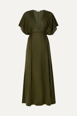 Eres Paule Cotton-jersey Maxi Dress - Army green