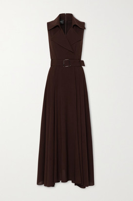 Akris Belted Wool-crepe Maxi Dress - Brown