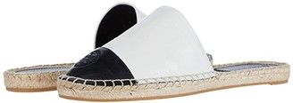Tory Burch Color-Blocked Flat Espadrille Slide (Ivory/Perfect Black) Women's Shoes