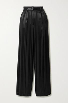 Anine Bing Hayes Satin-jacquard Wide-leg Pants - Black